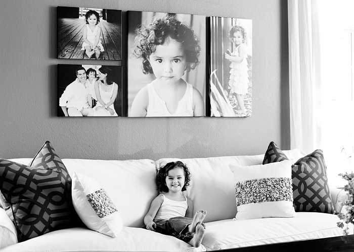 Beautiful black and white grouping above the white couch. Canvas wraps
