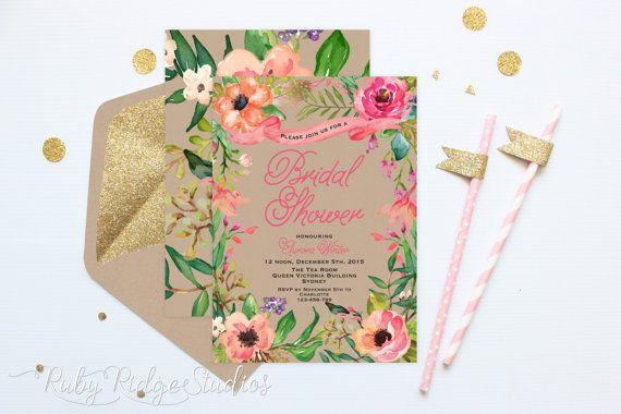 Printable Bridal Shower Invitation, Summer Watercolor Floral, Bohemian Floral Style, Hens Party, Kitchen Tea, DIY Printable Invitations