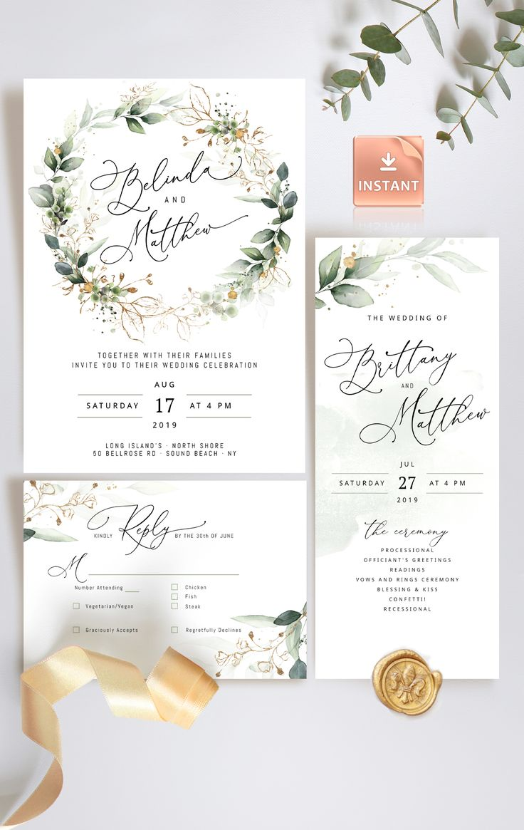 Wedding ceremony Invitation Templates on Etsy by DIY Paper Boutique.