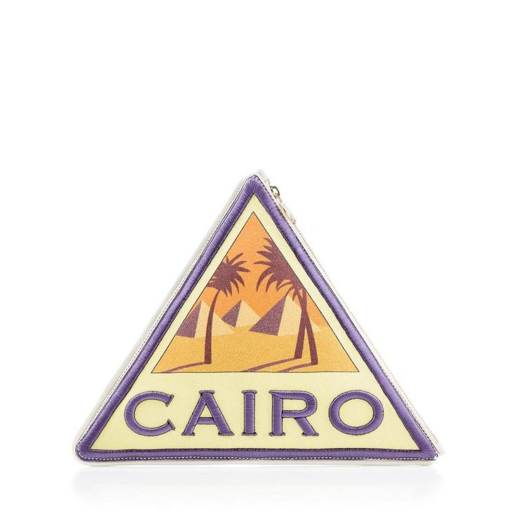 Inspired by a vintage travel sticker, Cairo Pouch is the mark of a lady with global style aspirations. This triangular zip-up clutch in multi-coloured canvas and embroidery detailing captures the imagination.   Charlotte Olympia