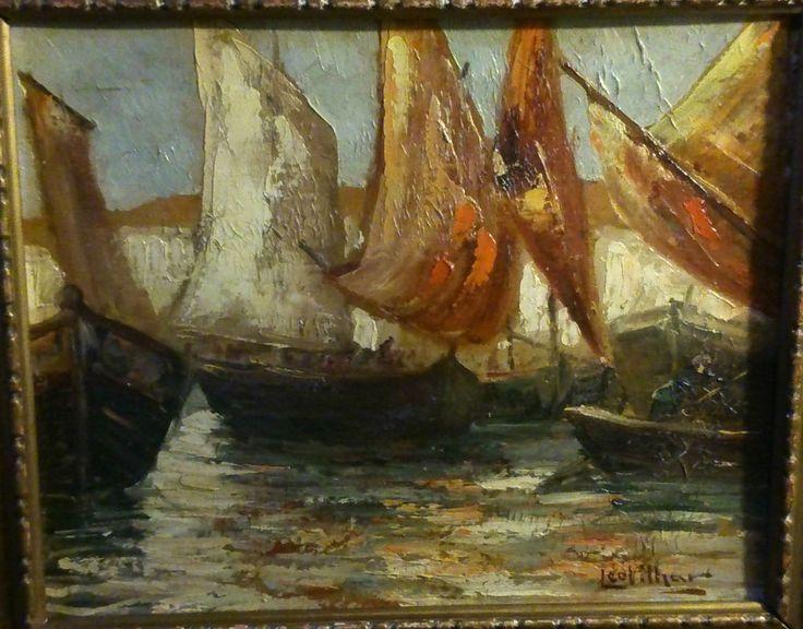 Léo Vilhar 1889-1971 Slovène ( école Milan ) voiles latines huile sur carton 3F