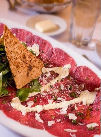 Brio's Beef Carpaccio Served with field greens, capers, mustard aioli and Parmigiano-Reggiano :D mamma mia :D