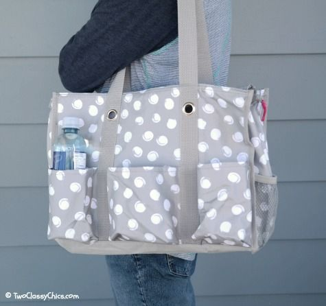 Thirty-One Zip Top Utility Tote Bag - grey with white polka dots