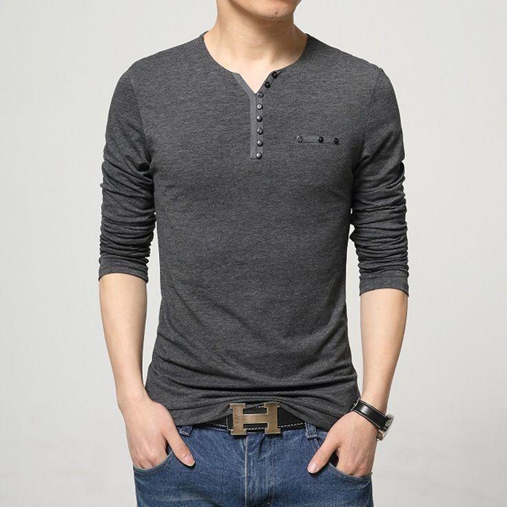 2016 Thời Trang Mens Slim Fit Long Sleeve T-Shirts Stylish Người Đàn Ông Sang Trọng V Cổ Bông T Shirt Tops Tee