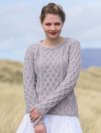 cf095b5ffdd967 Lambay Aran Sweater for Women - Silver