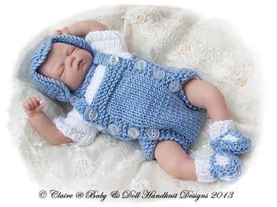 "Traditional Romper Suit Set 7-12"" doll-babydoll handknit designs, romper, doll, knitting pattern"
