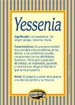 Origen y significado de Yessenia
