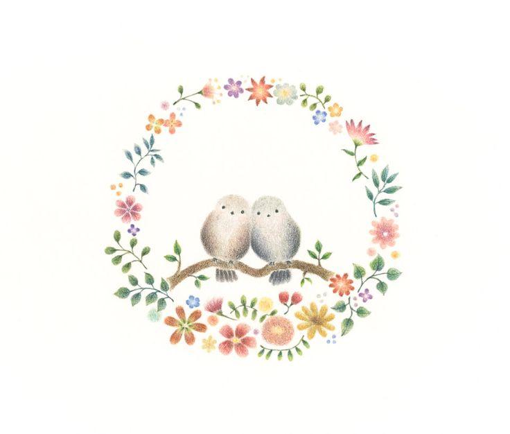 """Two Little Birds and Wreath"" −RiLi, picture book, illustration, design…"