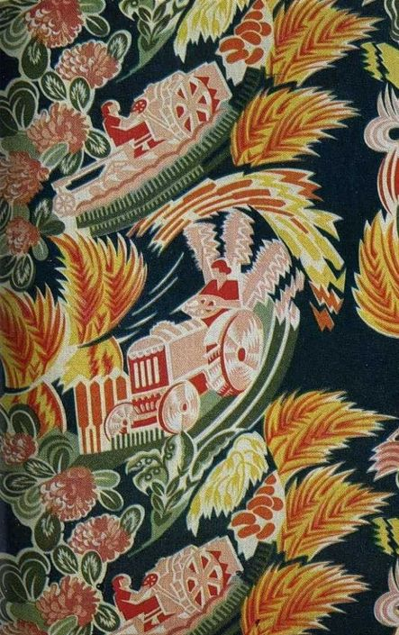 Soviet textiles Tractors and wheat. Notice the tractor drivers are females.