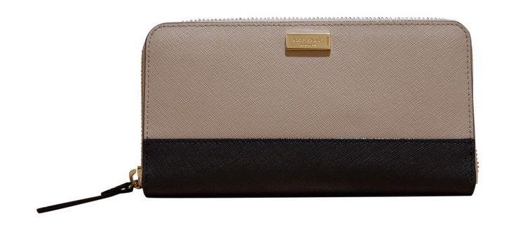 Kate Spade New York NEDA Laurel Way Safiano Leather Zip Wallet, Mousse Frost, Black