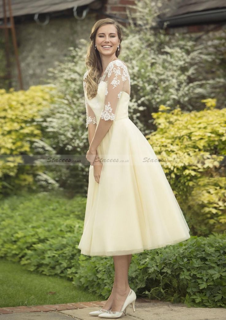 Tulle Tea-Length A-Line/Princess Half Sleeve Scoop Neck Covered Button Bridesmaid Dress With Appliqued