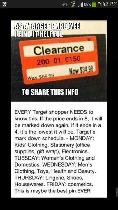 Just so ya know.... TARGET