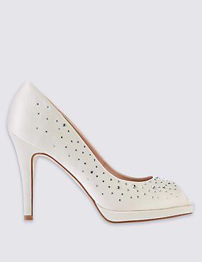 Stiletto Peep Diamante Platform Court Shoes