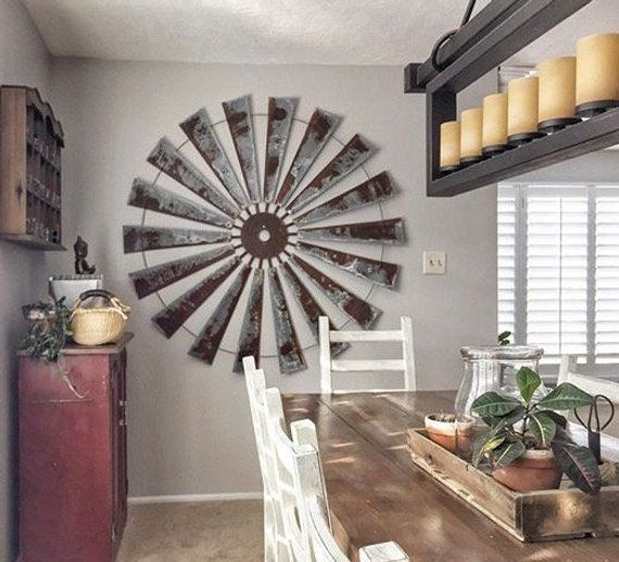 Huge 60 Inch Metal Windmill Wall Art Large Wall Space Decor Etsy