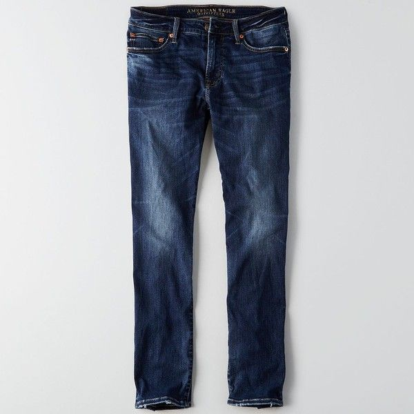AE Flex Air Slim Straight Jean ($50) ❤ liked on Polyvore featuring men's fashion, men's clothing, men's jeans, blue, mens straight jeans, mens blue jeans, american eagle outfitters mens jeans, mens stretch jeans and mens slim fit jeans
