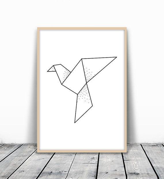 Geometric Bird Print Origami Print Dove Print by MotivatedWallArt