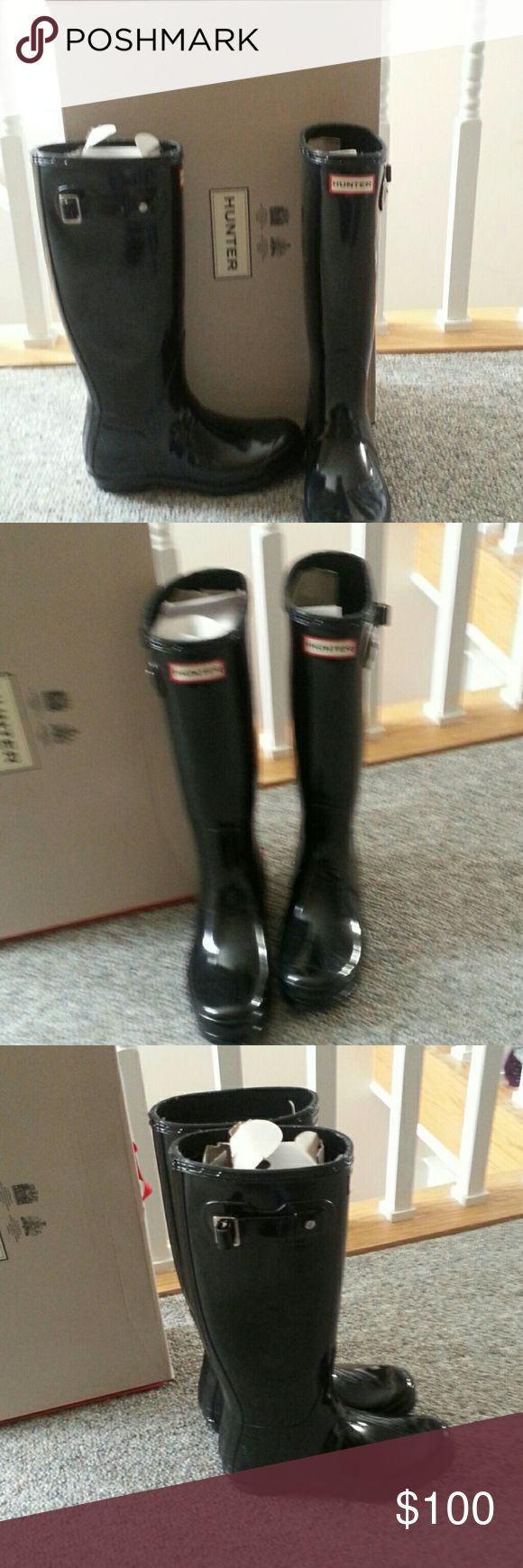 Womens Hunter Boots Classic black shiny Hunter Boots Shoes Winter & Rain Boots