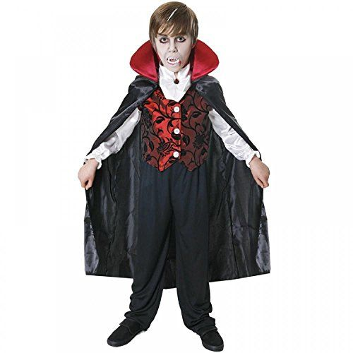 From 13.89 Deluxe Vampire Costume Dracula Cape Kids Childrens Halloween Fancy Dress Outfit (7-9 Years)