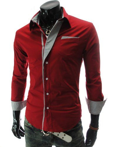 Buy New: $26.98 (On sale from $33.73): #Apparel #TheLees Mens Casual Long Sleeve Stripe Patched Fitted Dress Shirts Red X-Large(US Medium)