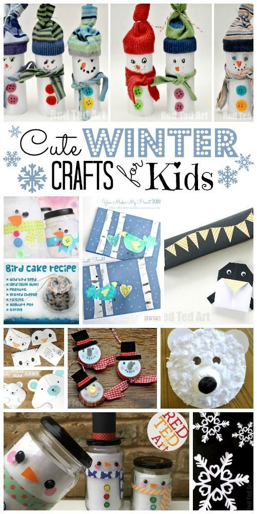 Easy Winter Crafts for Kids! Take a peak at these easy winter crafts for kids. We have so many ideas to choose from - from paper crafts, to art projects to cute makes and thank you cards. These Winter Activities for Kids are perfect for when you are caught indoors on Snow Days as they mostly use every day materials. Brighten up your home and afternoon with a cute winter craft :-) via Red Ted Art