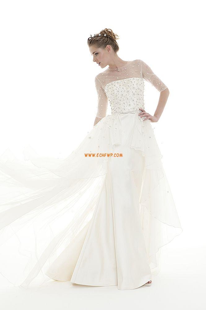 Traîne moyenne Printemps 2014 Crystal détaillant Robes de mariée pas cher