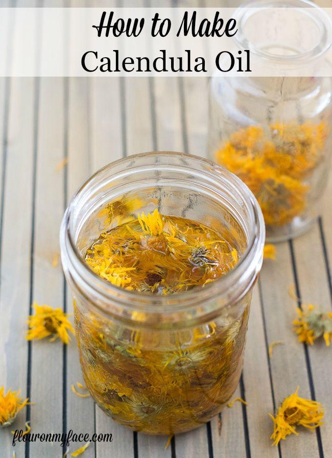 How to make Calendula oil for  a base for homemade bath and body products like lip balm, salve and lotions. via flouronmyface.com