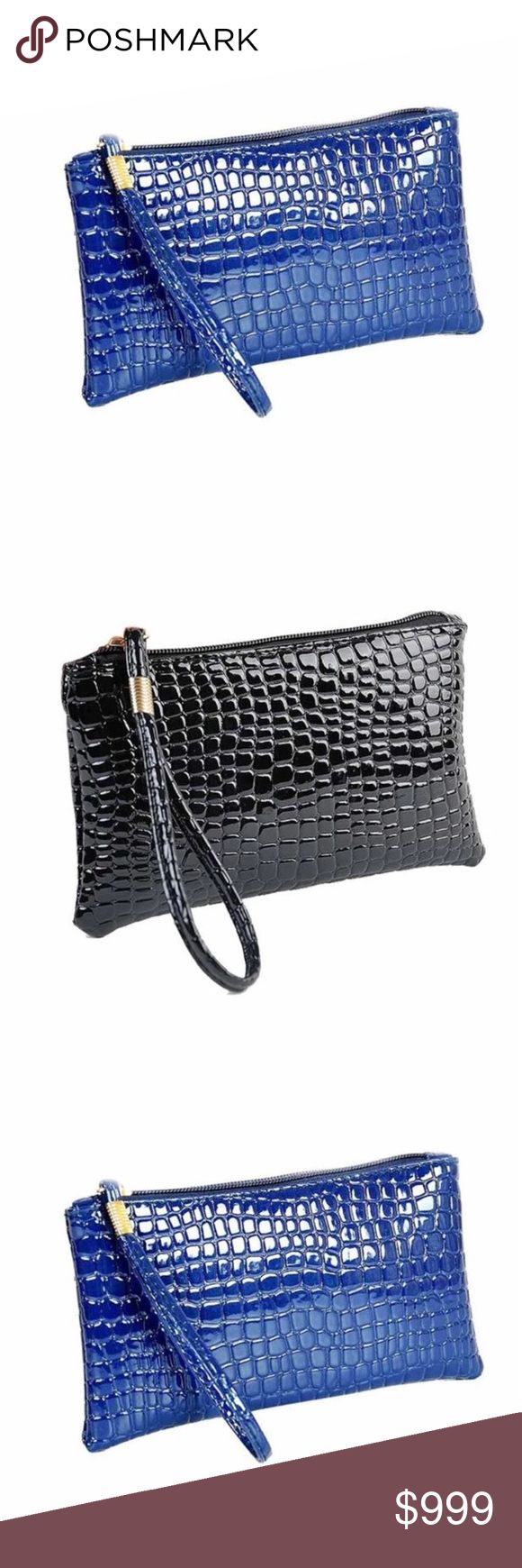 Coming Soon! Handbags New Fashion Casual Women Bags Crocodile PU Leather Clutch Handbag Bag. Available in Royal Blue and Black! Great for going out at night when you don't want to carry a handbag! Bags Mini Bags