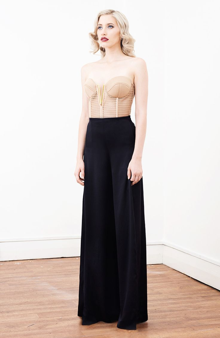 Stunning corset with mesh material and padded gold T bar bra, available now @ ZELJA BOUTIQUE.