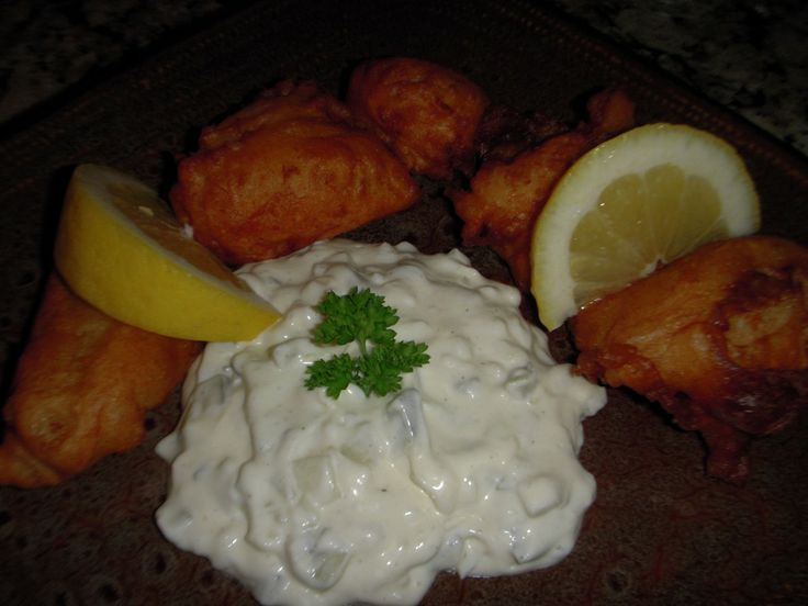 Best Beer Battered Cod  Serve with fresh lemons,Tatarsauce and a ice cold beer!!