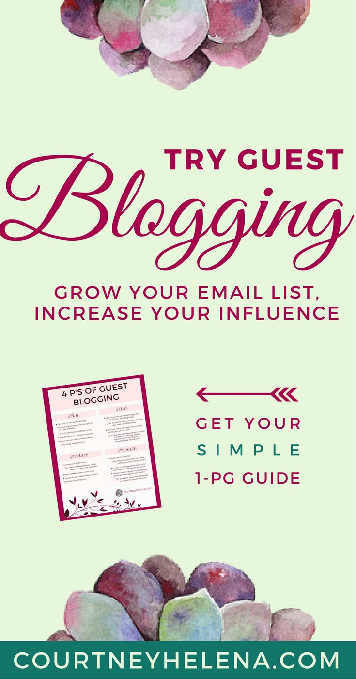 Grow your email list, increase your influence, develop reader relationships, and ultimately sell more. Download this quick, easy 1-page guide to guest posting and get started!  #guestposting #blogging #email #emailmarketing #guestblogging