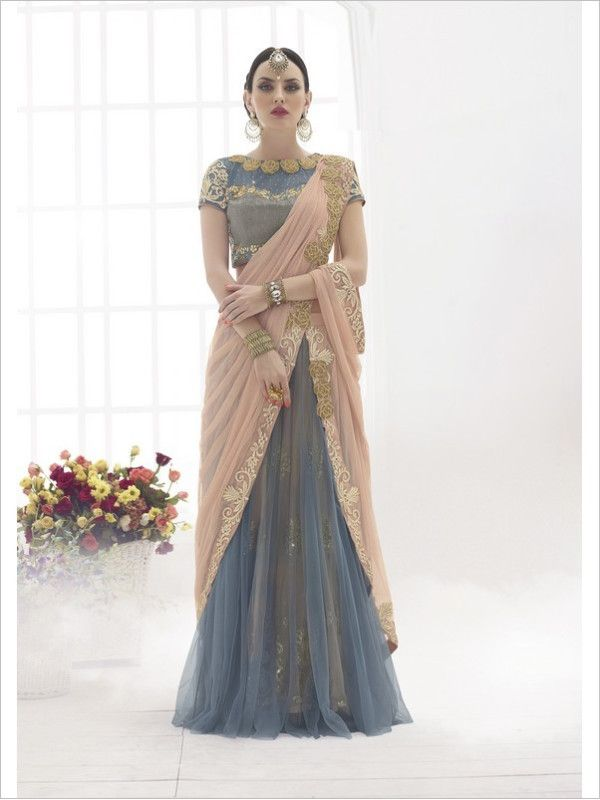 Grey Party Wear Net Saree