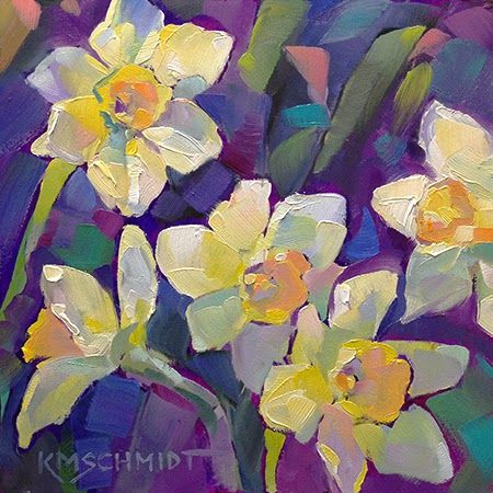 Just Landscape Animal Floral Garden Still Life Paintings by Louisiana Artist Karen Mathison Schmidt: Party of Five fauve impressionist oil painting of yellow daffodils, jonquils • loose, painterly style springtime floral painting by professional Louisiana artist KMSchmidt