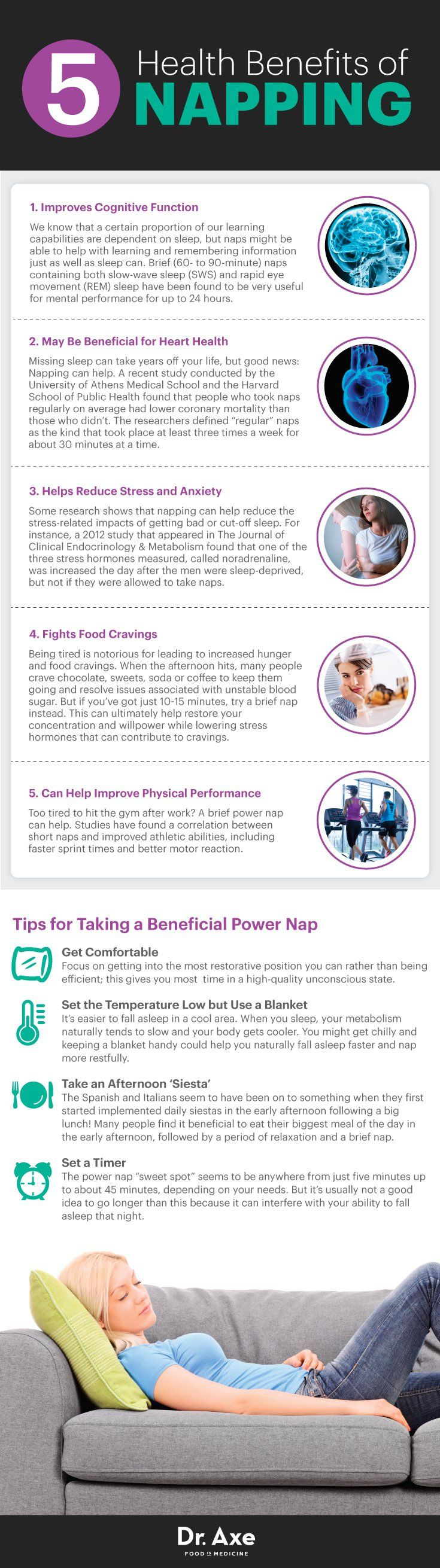 """The Science Behind a Power Nap I Our parents may have been on to something when they encouraged us to nap  even in adulthood, brief, regular napping seems to be good for you in a variety of different ways. While our fast-paced society may discourage breaks and taking time to slow down, research shows the opposite to be true: Any time you can rest and """"recharge your battery"""" is beneficial for both your body and mind. I   Dr. Axe"""
