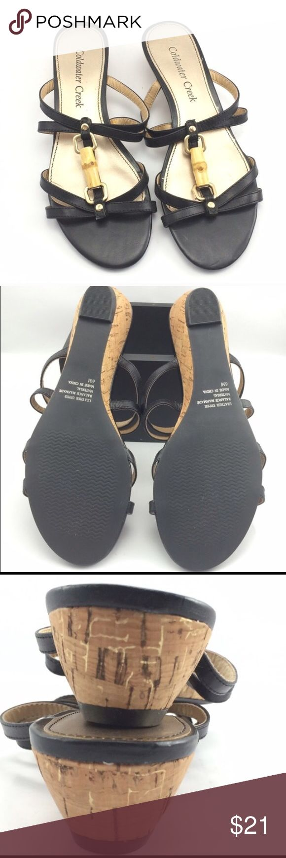 "Coldwater Creek cork wedge sandals NWOB  Such cute details on on the leather uppers! 1 1/2"" cork wedge Coldwater Creek Shoes Sandals"