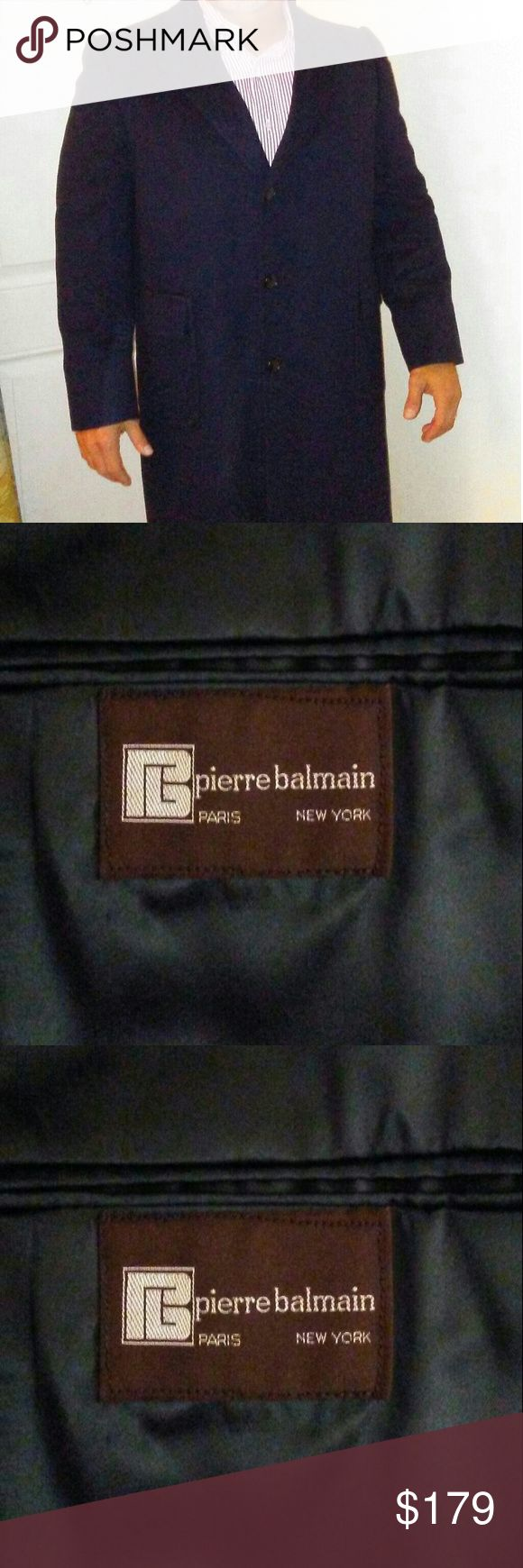 Balmain Cashmere Overcoat Balmain Overcoat navy blue single breasted 3 button not sure if this is 100% casmere or a blend but it is a great overcoat in excellent preowned condition letting this quality Balmain coat go on a super cheap end of season deal Balmain Jackets & Coats Trench Coats