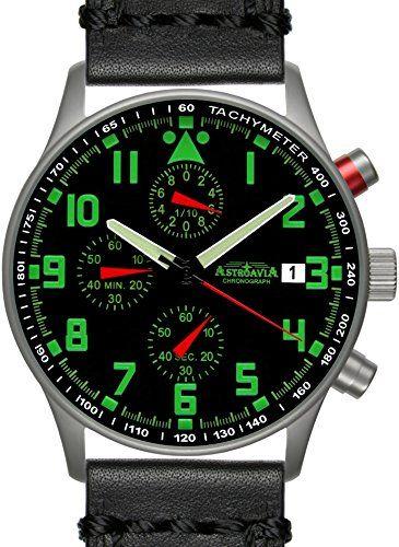 N94L4 Astroavia Orologio da uomo Cronografo Nero Chronograph 40 mm cinturino in vera pelle