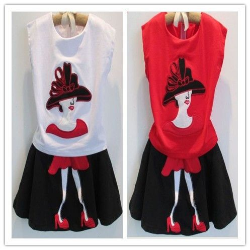 Hu sunshine wholesale new 2014 girls little beautiful lady clothing set( sleeveless t-shirt+Mini skirt) Kid's princess suits $60.20