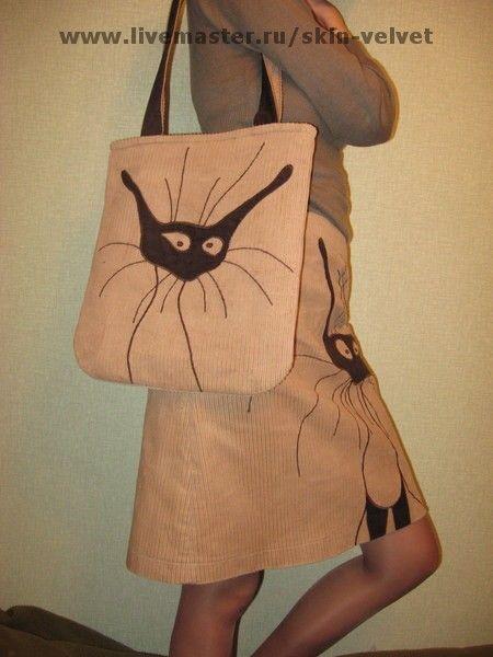 """Купить """"Моя кошкость"""" - вельветовая сумка, кошка, кот, вельвет"""