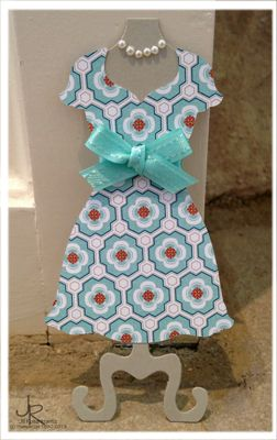 Pretty little dress using Stampin' Up! Sycamore Street designer series paper and Dress Up framelits.  By Stamping With Jill.