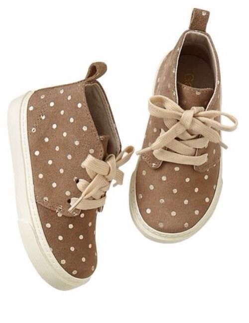 GAP Baby / Toddler Girl Size 6 NWT Brown Polka Dot Suede Desert Boots Shoes #BabyGap #Boots