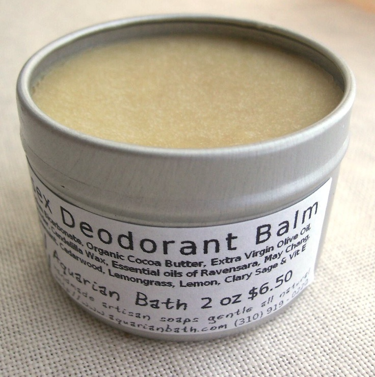 Swap out your plastic deodorant container for a metal one, like this plastic-free unisex natural deodorant balm by Aquarian Bath.