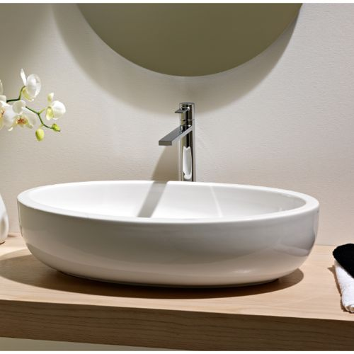 Depth 15.2 Bathroom Sink, Scarabeo 8111, Oval Shaped White Ceramic Vessel  Bathroom Sink 8111