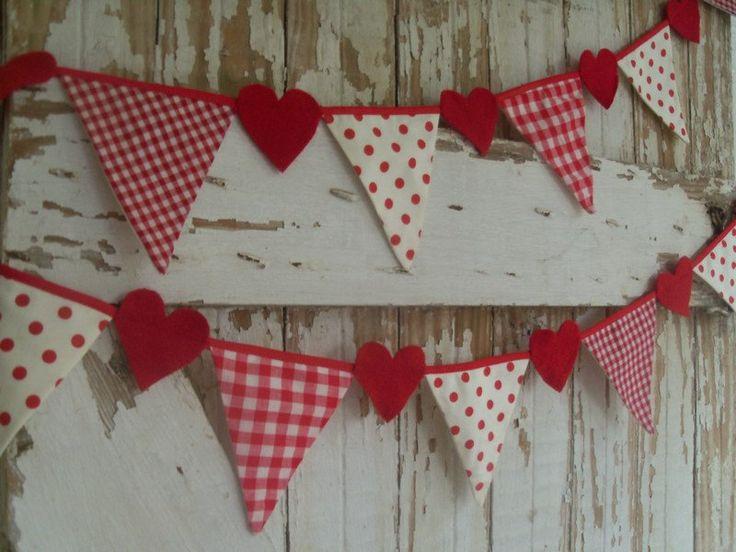 Image detail for -PARTY Banner Garland HEART Decor reclaimed fabric flags Shabby ...
