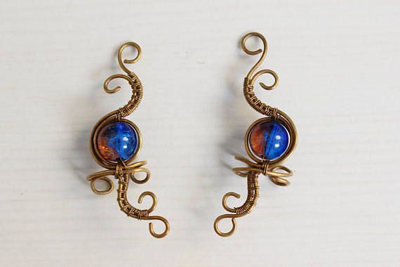 Handmade bronze blue and orange art nouveau ear cuffs brass