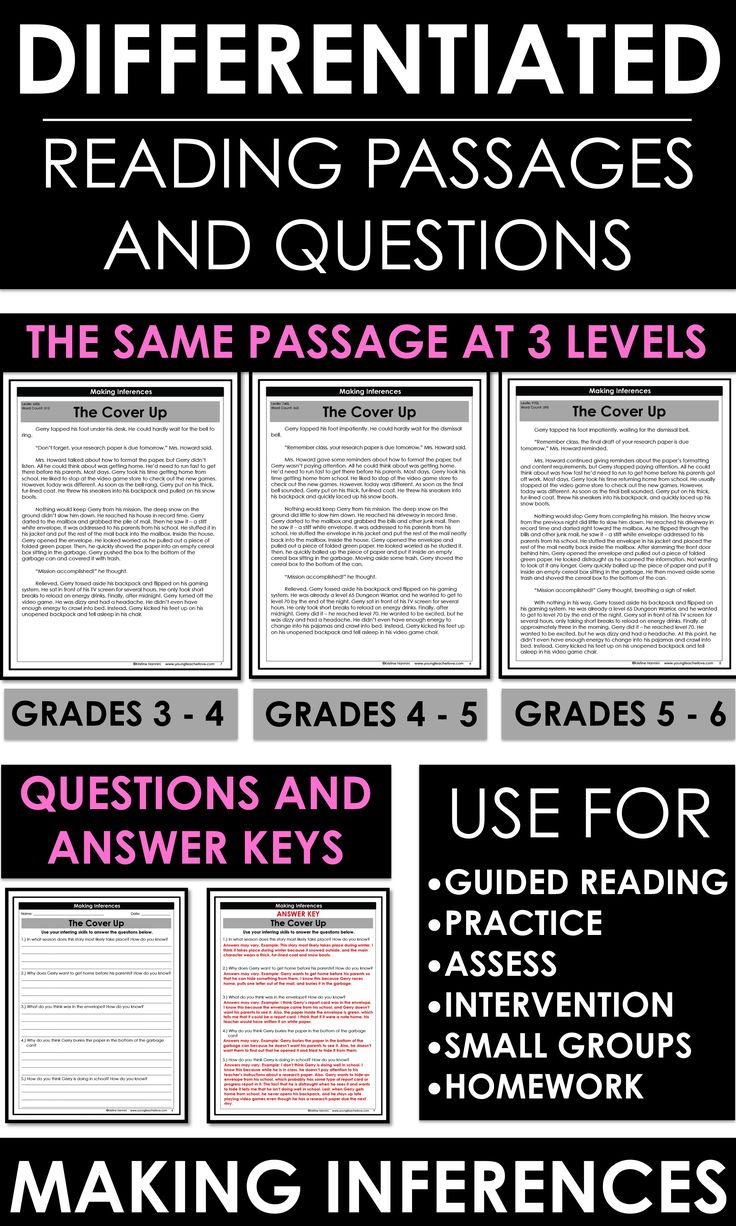 Making Inferences: Differentiated Reading Passages and Questions- 10 Reading Passages with questions and answer keys. Three different levels for each passage so your students can practice inferring. By Kristine Nannini