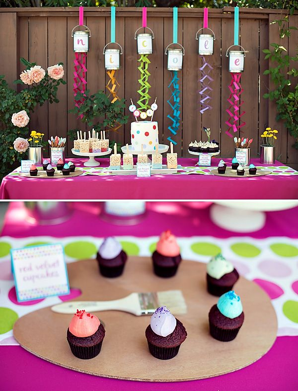 kids paint party ideas | HWTM > Kids Birthday > Parties for Girls > Polka Dot & Rainbow Paint ...