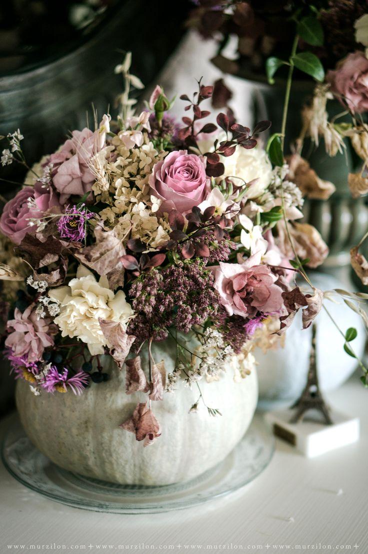Murzilon: Let's go to the garden!  DIY. Flower bouquet in light green pumpkin. Use pumpkin like a vase.  #DIY#pumpkin#flowers#dustyrose