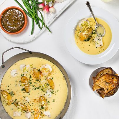Learn how to make bouillabaisse's less fussy cousin: bourride. Yummy idea for Christmas Eve--maybe sub in lobster or cod and shrimp.