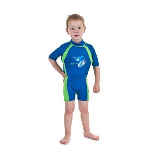Boys Blue Green Floating Swimsuit Sun Protection Swim Suit Spf 50 Flotation Suit Size Small For