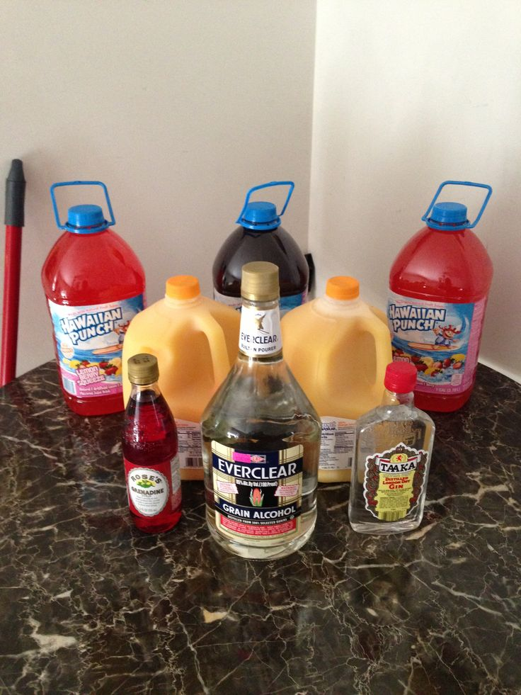 Hunch Punch.....  The best hunch punch ever!!!  3 Gallon Hawaiian Punch  (Any Flavor) 2 Gallon Orange Juice (Pulp Free) 1 small bottle of grenadine  1/2 Gallon EverClear or Golden Grain 1 Pint of Gin